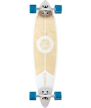 "Z-Flex Top Shelf 38"" pintail longboard completo en blanco y natural"