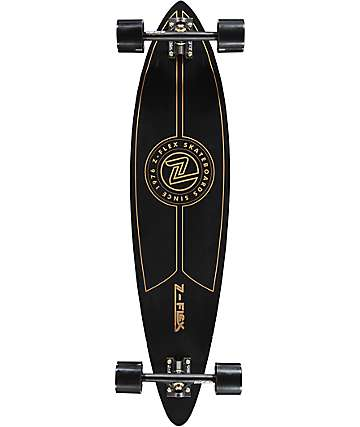 "Z-Flex Top Shelf 38"" pintail longboard completo en negro y color oro"