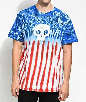 Zero Americana Single Skull camiseta con efecto tie dye