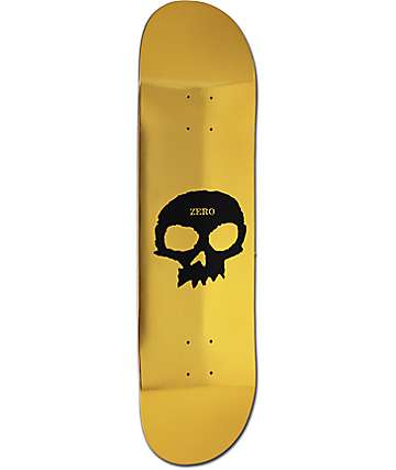 "Zero Single Skull Gold Foil 8.4"" Skateboard Deck"