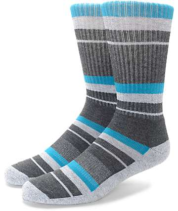 Zine 10 Feet Tall Caribbean & Dark Grey Crew Socks