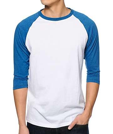 Zine 2nd Inning camiseta de béisbol blanco y azul del mar moteado