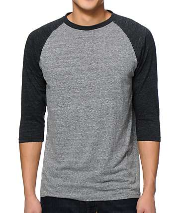 Zine 2nd Inning camiseta de béisbol carbón y negro jaspeado