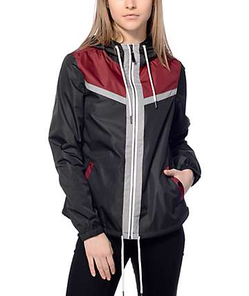 Zine Adley Black & Burgundy Windbreaker