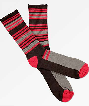Zine Airbreak Brown & Red Crew Socks