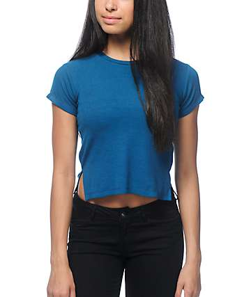 Zine Alaia Ribbed Cropped Blue T-Shirt