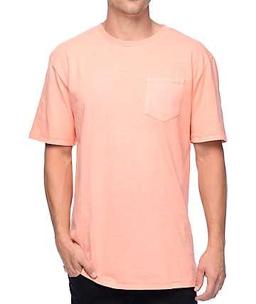 Zine Alta camiseta con bolsillo de color melocotón