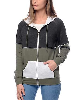 Zine Auden Green Colorblock Zip Up Hoodie