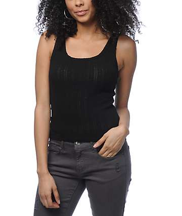 Zine Aurelia Black Cropped Tank Top
