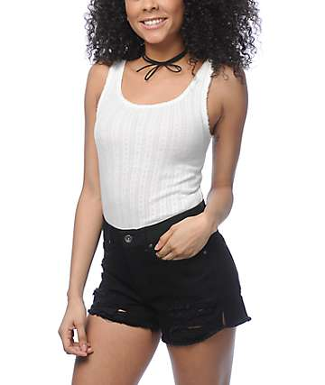 Zine Aurelia White Cropped Tank Top