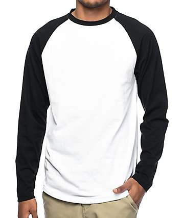 Zine Ball Park camiseta de manga larga en blanco y negro