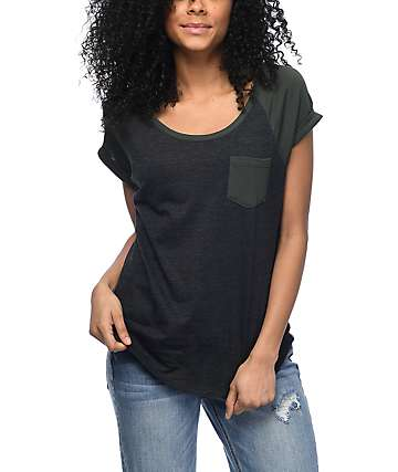 Zine Bartlett Charcoal & Olive Raglan T-Shirt