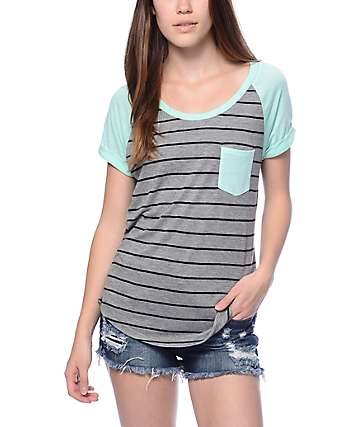 Zine Bartlett Grey & Mint Stripe T-Shirt