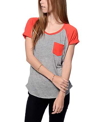 Zine Bartlett Grey and Red Raglan Pocket T-Shirt