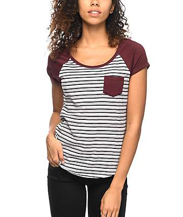 Zine Bartlett camiseta raglan en color vino
