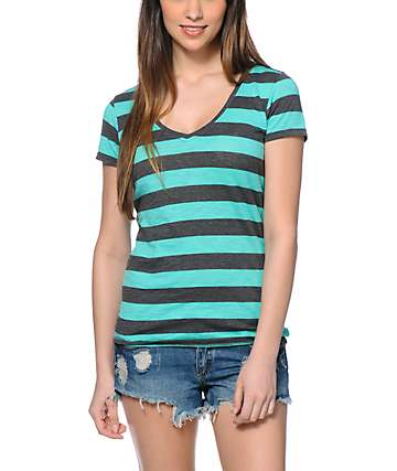 Zine Beta Aqua Green & Charcoal Stripe V-Neck T-Shirt