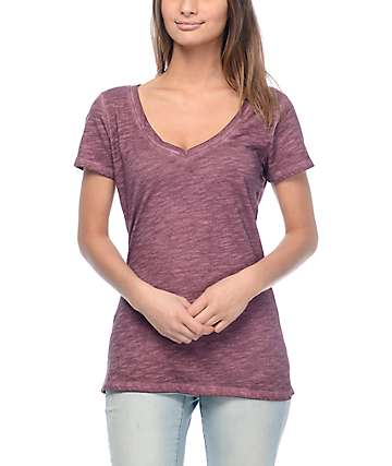 Zine Beta Burgundy V-Neck T-Shirt