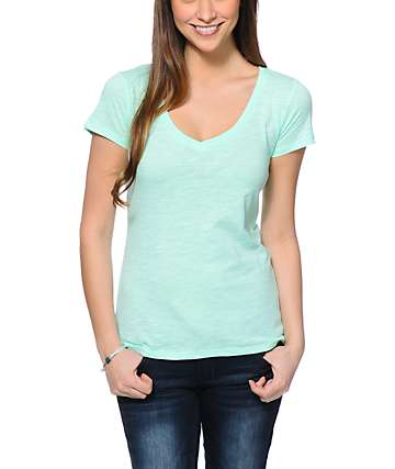 Zine Beta Neon Mint V-Neck T-Shirt