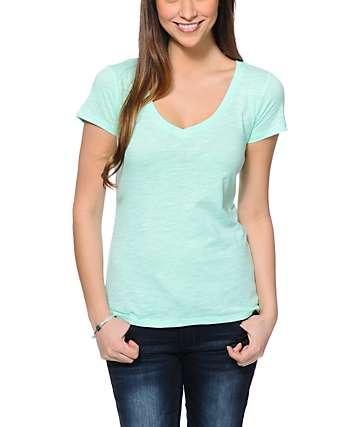 Zine Beta Neon Mint V-Neck T-Shirt