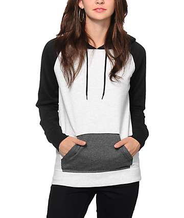 Zine Black, White & Charcoal Colorblock Raglan Hoodie