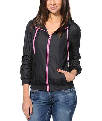Zine Black & Neon Pink Windbreaker Jacket