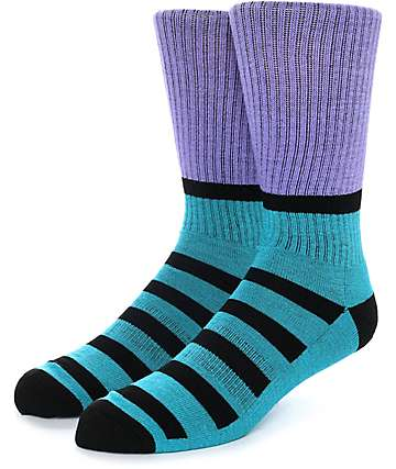 Zine Blast Purple, Teal & Black Crew Socks