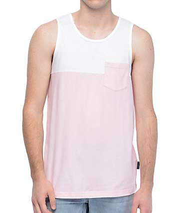 Zine Blocked White & Pink Pocket Tank Top