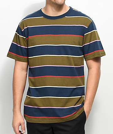 Zine Bonus Navy & Green Striped T-Shirt