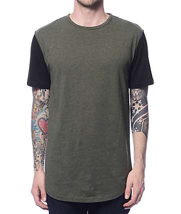 Zine Book Ends Green & Black Curved Hem Long T-Shirt