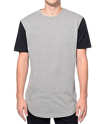Zine Book Ends Grey and Black Curved Hem Long T-Shirt
