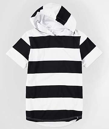 Zine Boys Locked Up Striped Hooded T-Shirt