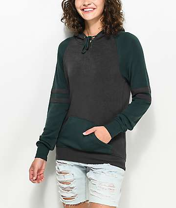 Zine Brad sudadera con capucha en colores verde y carbón