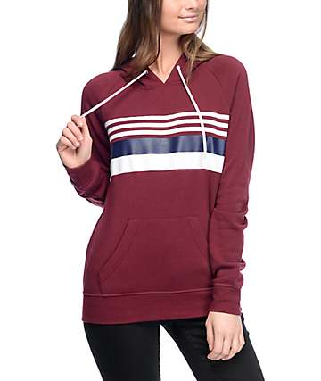 Zine Bryand Burgundy, Blue & White Striped Hoodie