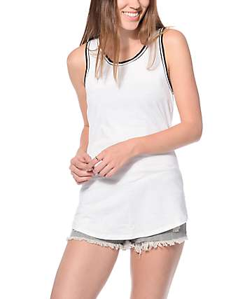 Zine Bryant White & White Trim Tank Top