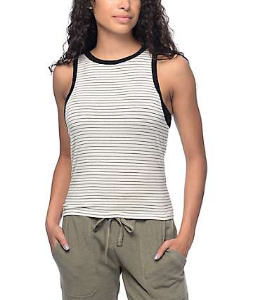 Zine Bunn Black & White Stripe Tank Top