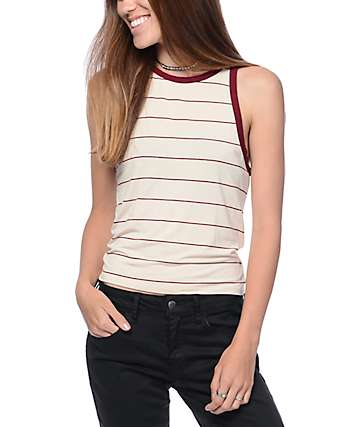 Zine Bunn White & Red Stripe Tank Top