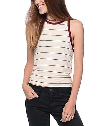 Zine Bunn camiseta sin mangas rayada en blanco y rojo