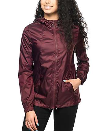 Zine Calla Burgundy Full Zip Windbreaker