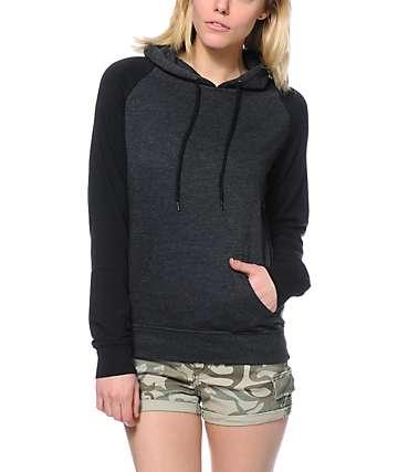 Zine Charcoal & Black Raglan Pullover Hoodie