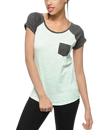 Zine Charcoal & Brook Green Raglan Pocket T-Shirt