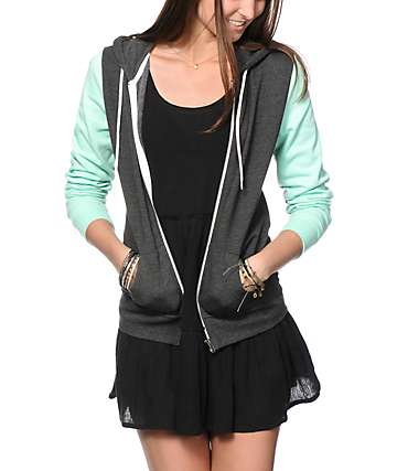 Zine Charcoal & Mint Colorblock Zip Up Hoodie