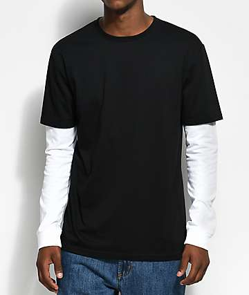 Zine Chilled Layered Black & White Long Sleeve T-Shirt