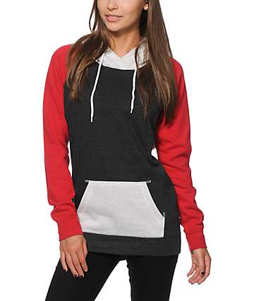 Zine Clarissa Charcoal & Red Colorblock Hoodie