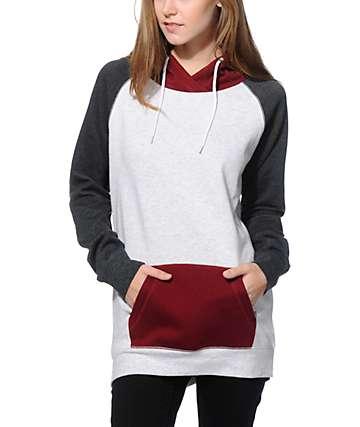 Zine Clarissa Grey & Burgundy Colorblock Hoodie
