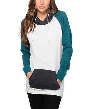 Zine Clarissa Teal & Charcoal Colorblock Hoodie