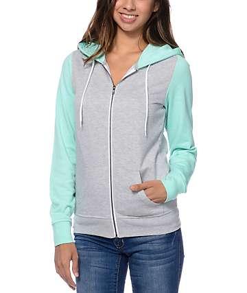 Zine Colorblock Heather Grey & Aruba Blue Zip Up Hoodie
