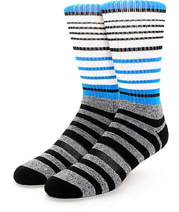 Zine Conered White, Cyan & Black Crew Socks