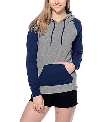 Zine Contrast Blue & Grey Hoodie