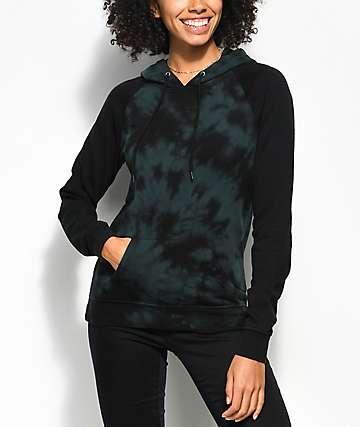 Zine Contrast Green & Black Tie Dye Hoodie