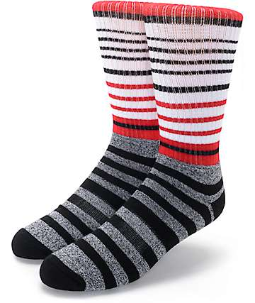 Zine Cornered Black, White & Red Crew Socks
